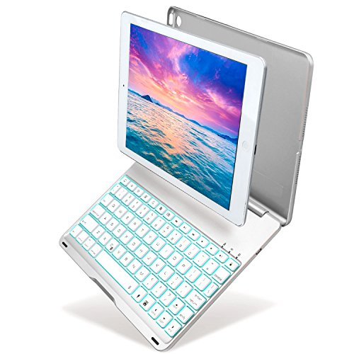 Keyboard Case for iPad Air 2/iPad 6, Kiwetaso 7 Colors Backlit Apple iPad Air 2 Wireless Smart Cover with Keyboard for A1566 A1567(Silver) by Kiwetaso