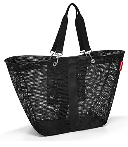 reisenthel Meshbag L, Large Mesh Tote Bag, Black (Tote Bag Zipper Polyester)