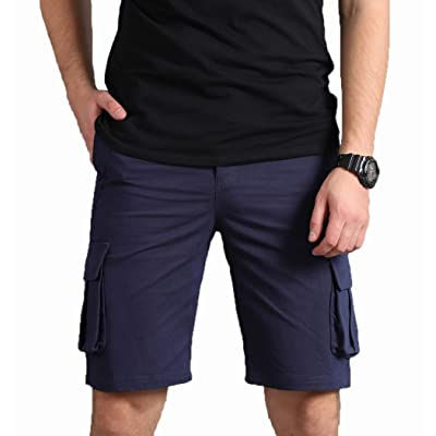 Bellhang Men's Cotton Cargo Shorts Loose Fit Relaxed Twill Cargo Shorts: Clothing