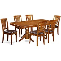East West Furniture NAAV7-SBR-LC 7-Piece Dining Table Set