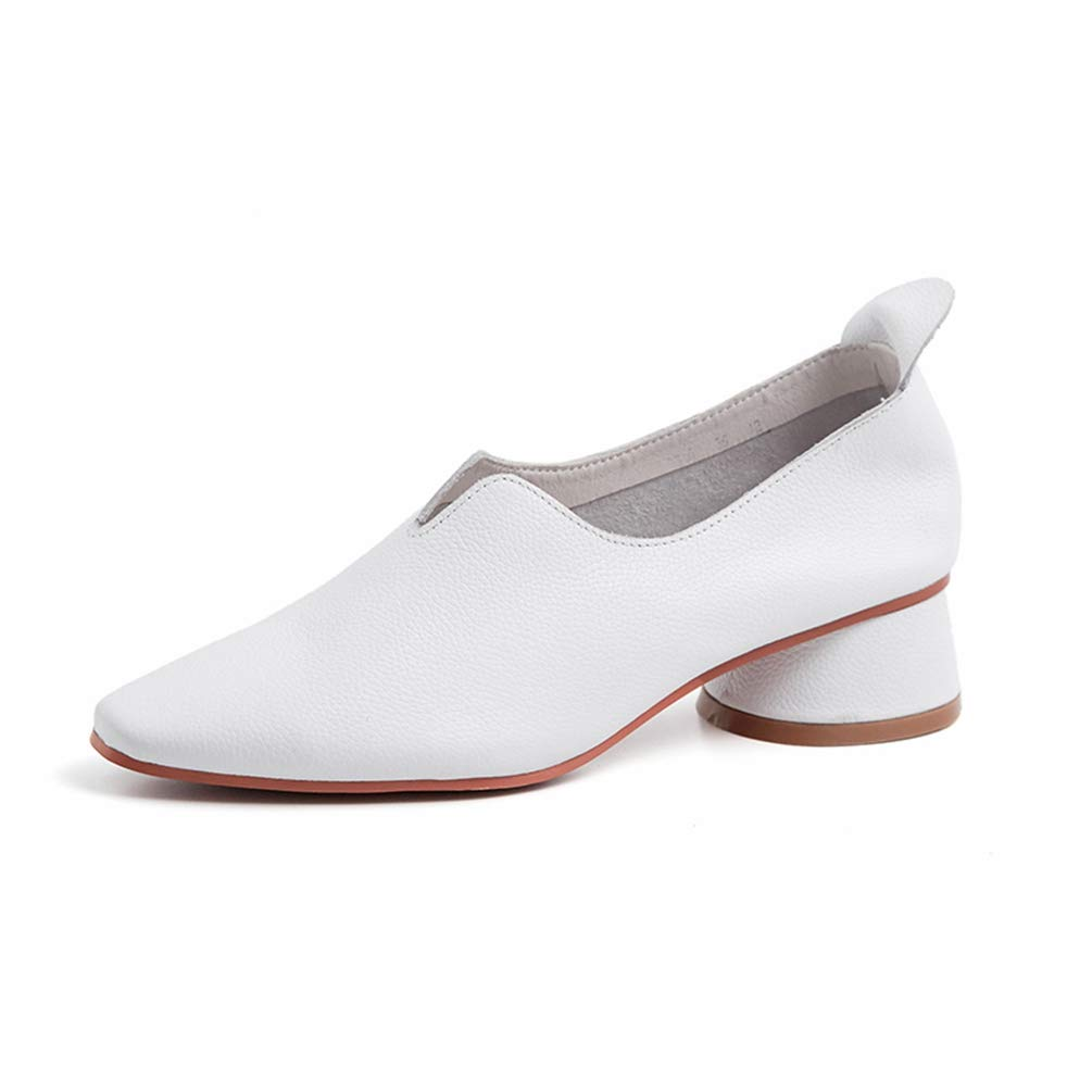 White T-JULY New Luxury Brand Loafers shoes Women Genuine Leather Flat shoes Square Heels Loafers