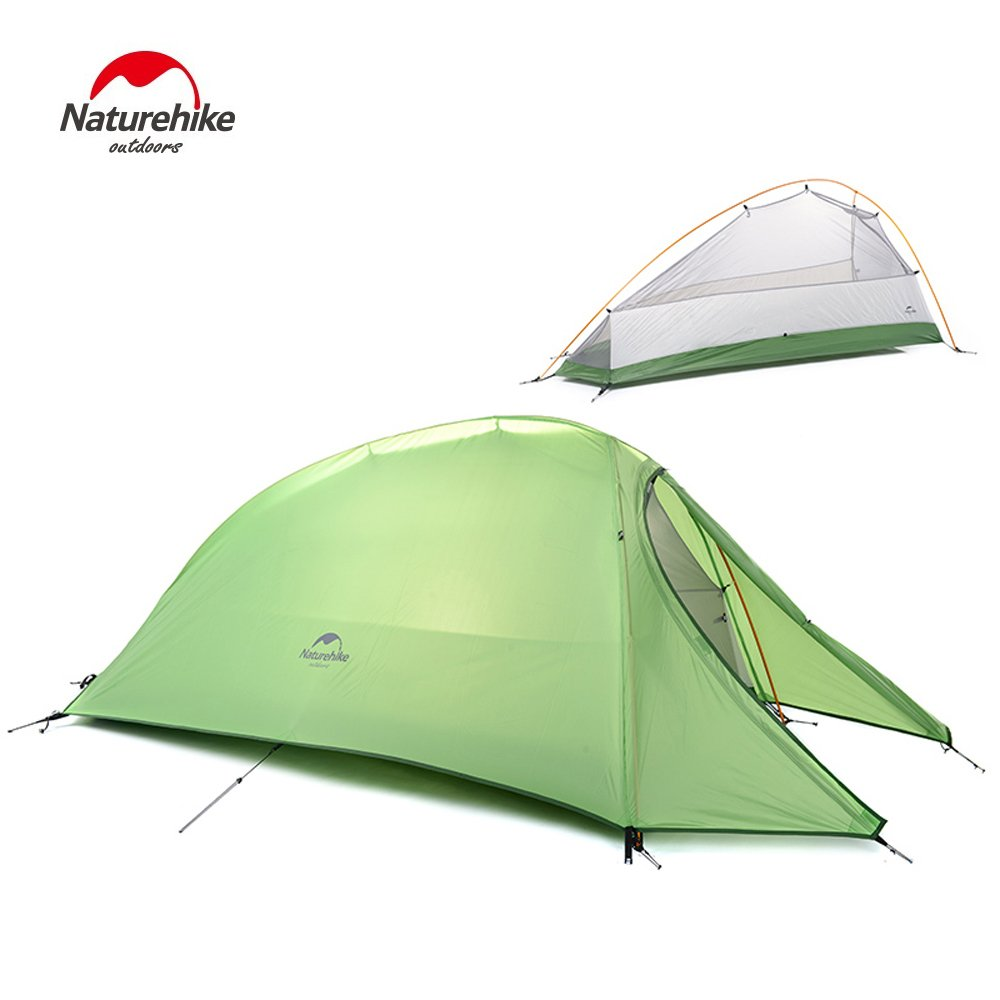 1 Person 4 Season Tent Double Skin 210T Plaid Fabric Ultralight Camping Tent (green) Naturehike