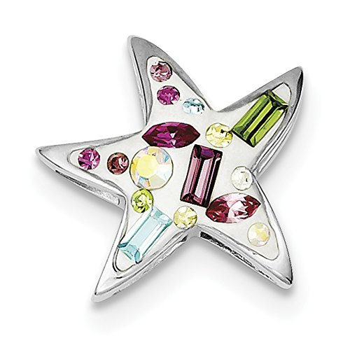 (925 Sterling Silver Rhodium Plated Stellux Crystal Star Slide Pendant)