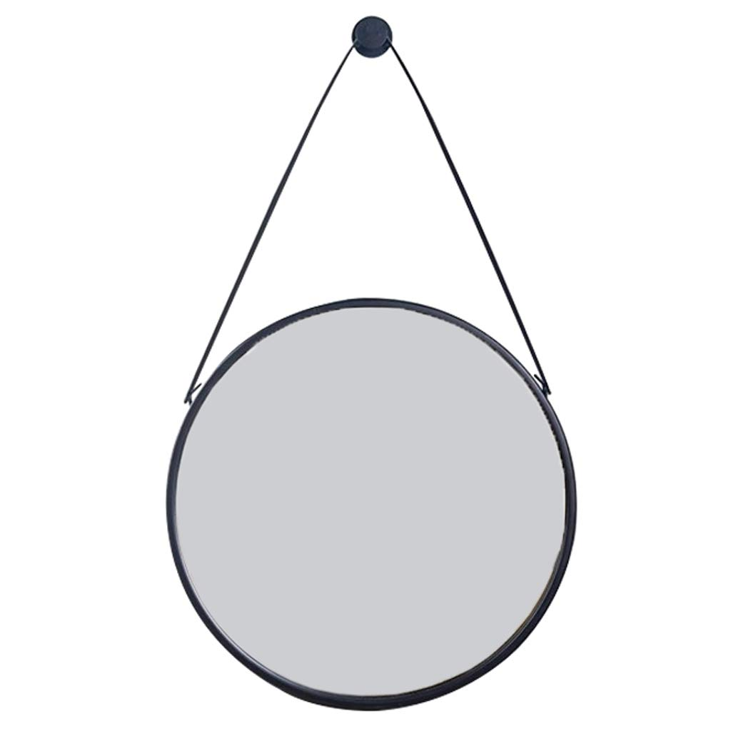 50CM Wall-Mounted Circular Vanity Mirrors with Hanging Strap and Metal Frame 30CM(12Inch) Diameter Wall Decorative Mirror Shower Mirror Shave Mirror for Toilet Hall Bedroom Bathroom
