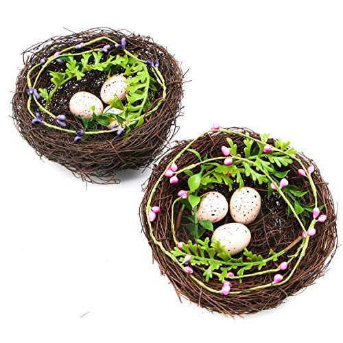 JETEHO 2Pcs 6'' Inches Artificial Bird Nest Decorative with Fake White Spotted Eggs for Gardening Decoration