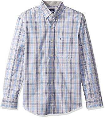 Izod Men's Button Down Long Sleeve Stretch Performance Plaid Shirt, Alloy, Small
