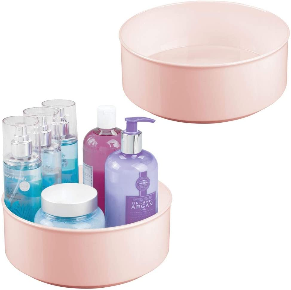 mDesign Plastic Spinning Lazy Susan Round Turntable Storage Tray - Rotating Organizer for Makeup, Cosmetics, Nail Polish, Vitamins, Shaving Kits, Medical Supplies, First Aid, 2 Pack - Light Pink/Blush