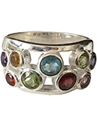 Antique 14k White Gold Plated Garnet, Amethyst, Peridot,Citrine, Blue Topaz Ring Valentine's Day Gift for Couples