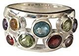 Antique 14k White Gold Plated Garnet, Amethyst, Peridot,Citrine, Blue Topaz Ring