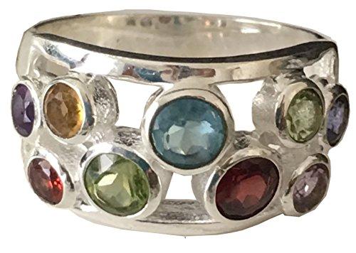 David Yurman Gold Ring (Antique 14k White Gold Plated Garnet, Amethyst, Peridot,Citrine, Blue Topaz Ring (5))