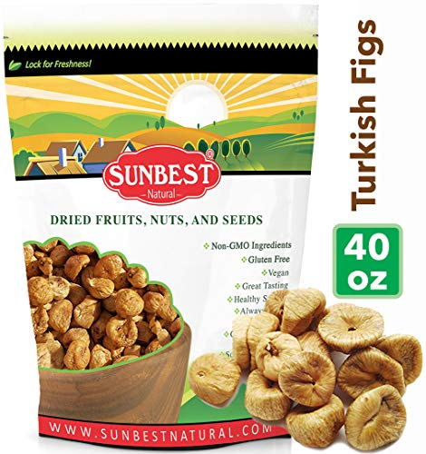 Sunbest Extra-Large Sun Dried Turkish Figs in Resealable Bag,Raw, New Crop, Unsulfured,No Sugar Added,Non Gmo-Vegan &Kosher (2.5 LB)