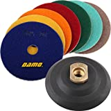 DAMO Diamond Polishing Pads 4 inch Dry Set of 7 + Back Holder for Marble Granite Concrete Countertop Floor