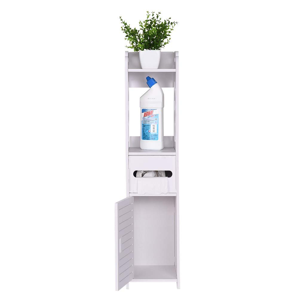 Bathroom Side Cabinet Wooden Waterproof Storage Bathroom Storage Rack Toilet Paper Towel Narrow Cabinet Floor Cabinet Multifunctional Bathroom Storage Cabinet with Stand-Alone