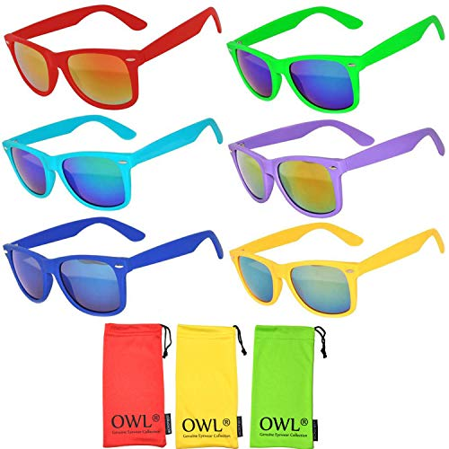 Wholesale Bulk Colorful Mirror Lens Sunglasses 6 Pack with 3 soft microfiber pouches