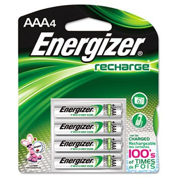 Energizer NH12BP4 Rechargeable NiMH Batteries, AAA Size, 4/PK