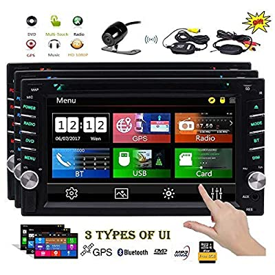 EINCAR Double 2 Din Car Stereo GPS Navigation Capaicitve Touchscreen Car Radio in Dash Bluetooth Head Unit 6.2 inch Car DVD CD Player MP3 USB SD 8GB Map Card+ 3 UIs Remote Wireless Reverse Camera: Car Electronics