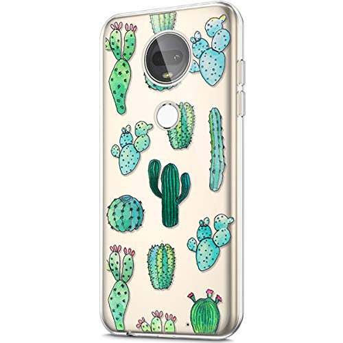 Price comparison product image ikasus Case for Moto G7 Plus, Crystal Clear Art Panited Design Soft & Flexible TPU Ultra-Thin Transparent Soft Rubber Gel TPU Protective Case Cover for Moto G7 Plus Silicone Case, Cactus Prickly pear