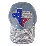 img - for Women's Studded Rhinestone Bling Texas Map Cowboy Baseball Cap Hat (Light Blue) book / textbook / text book