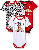Apparel : Disney Baby Boys' Mickey Mouse 3 Pack Bodysuits, Multi/Red, 18M