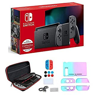 """Newest Nintendo Switch with Gray Joy-Con - 6.2"""" Touchscreen LCD Display, Built-in Speakers, 3.5mm Audio Jack, 802.11ac WiFi, Bluetooth 4.1, IR Motion Camera - Gray - iPuzzle 7-in-1 Carrying Case"""