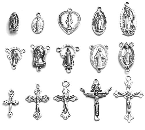 60pcs Antique Silver Cross Jesus Maria Our Lady Miraculous Centerpiece Crucifix Medal Charms Beads Pendants for Crafting, Jewelry Findings Making Accessory for DIY Rosary Necklace Bracelet