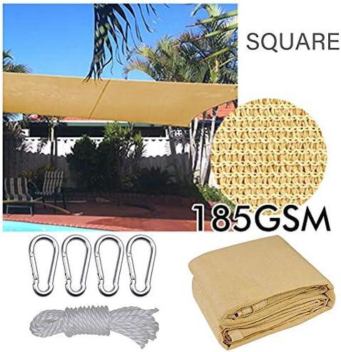 LSXIAO 簡単にベランダ、Windowsの、廊下、庭の前線、入り口、使用などの影にインストールされているシェード帆シェード布通気性D型リング (Color : Beige 12'x12')
