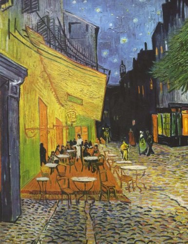 - Café terrace at night, Vincent van Gogh. Graph paper journal: 150 pages, 8.5 x 11 inches (21.59 x 27.94 centimeters), diary, composition book. Soft cover.