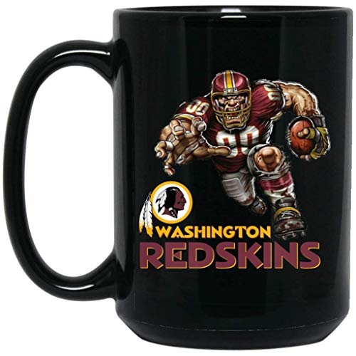 Washington Redskins Coffee Mug Redskins Player Logo Mug 15 oz Black Ceramic Cup Great for Tea and Hot Chocolate NFL NFC Football Perfect Gift for any Redskins Fan