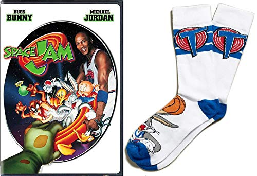 (Get Ready to Jam! Tune Squad Super Pack Space Jam Classic Family DVD Looney Tunes & Michael Jordan wacky Basketball fun + Collectors Theme Character bundle Bugs Bunny Sport Socks )
