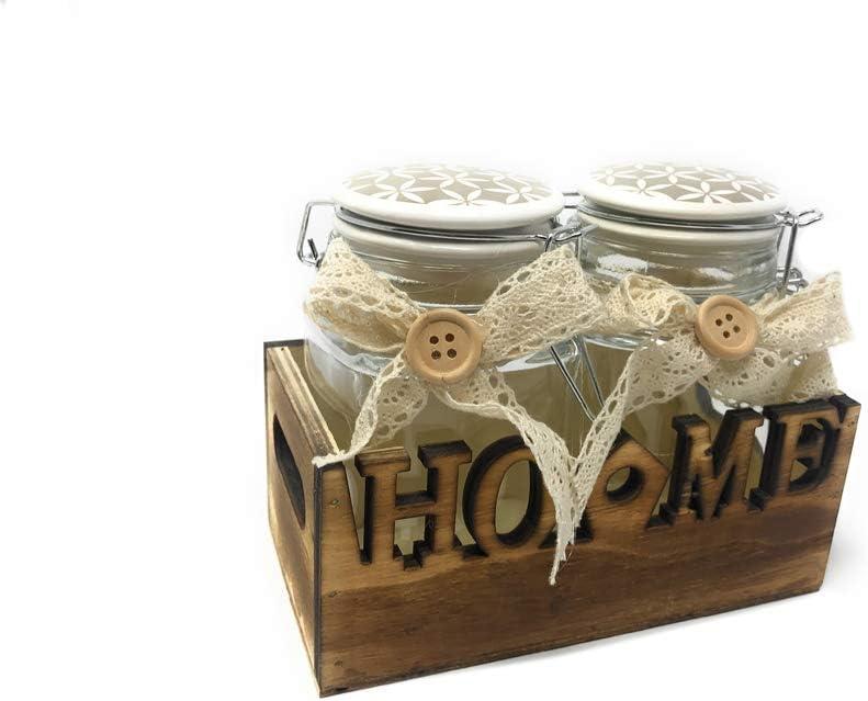 Grigio Vetrineinrete/® Set Due barattoli per Alimenti con Cassetta Contenitore con Scritta Home Chiusura ermetica salvafreschezza Shabby Chic 5809 D65
