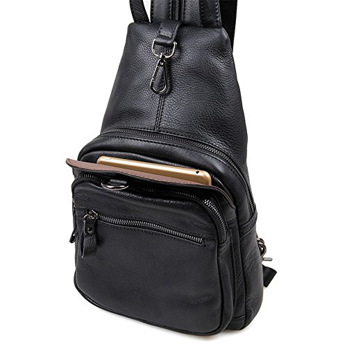 Backpack Bag Men Crossbody Sling Shoulder Men's Travel Ybriefbag Crossbody Genuine Chest for Business Messenger Leather Sports Women Outdoor Sling Bags Hiking for Black Casual Sport Daypack Backpack 4vqwxqCR1