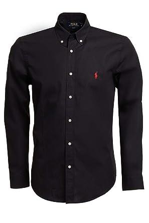 Ralph Lauren - Chemise manches longues - Slim Fit - Homme - Noir avec  cavalier rouge aa5fb3a29ca1