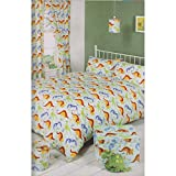 Mucky Fingers Childrens Boys Dinosaur Theme Unlined Curtains With Tiebacks (66in x 72in) (Multicolored)
