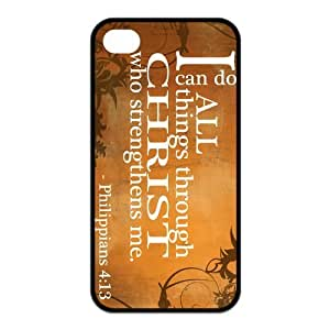 iPhone 4/4S Case, Bible Verse Philippians 4:13 Hard TPU Rubber Snap-on Case for iPhone 4 / 4S