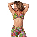 Zumba Women's Activewear Fashion Print Bralette with Straps, As Green As It Gets, X-Small