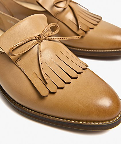 Leather Loafer Color Fringed Womens Tassels Solid Shoes Honeystore Flats Brown TxqpvwI