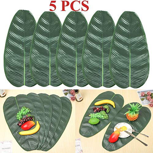 Luau Party Menu (5PCS Large Artificial Tropical Banana Leaves, 22 by 11inch,Hawaiian Luau Party Jungle Beach Theme Decorations Dark)