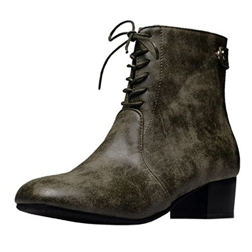 Heel Lace Vintage KemeKiss Bootie Boots Up Block Mid Women Green Army gIqaZw4