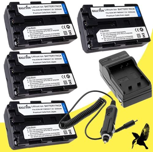 Four Halcyon 2200 mAH Lithium Ion Replacement Battery and Charger Kit for Sony Cyber-shot SLT-A99 Digital Camera and Sony NP-FM500H