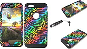 SHOCKPROOF HYBRID CELL PHONE COVER PROTECTOR FACEPLATE HARD CASE AND BLACK SKIN WITH STYLUS PEN. KOOL KASE ROCKER FOR APPLE IPHONE 6 PLUS ZEBRA BK-TE163
