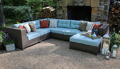 AE Outdoor 7-Piece Dawson All Weather Wicker Sectional with Sunbrella Fabric (Costco Furniture Sectional Patio)