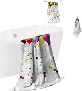 prunushome Bath Towels Children Super Soft Hotel Quality Towel Party Balloons in The Air for Bathroom Spa Gym Sports 3 Piece Towels Set (Bath Towels,Hand Towels,Washcloths)