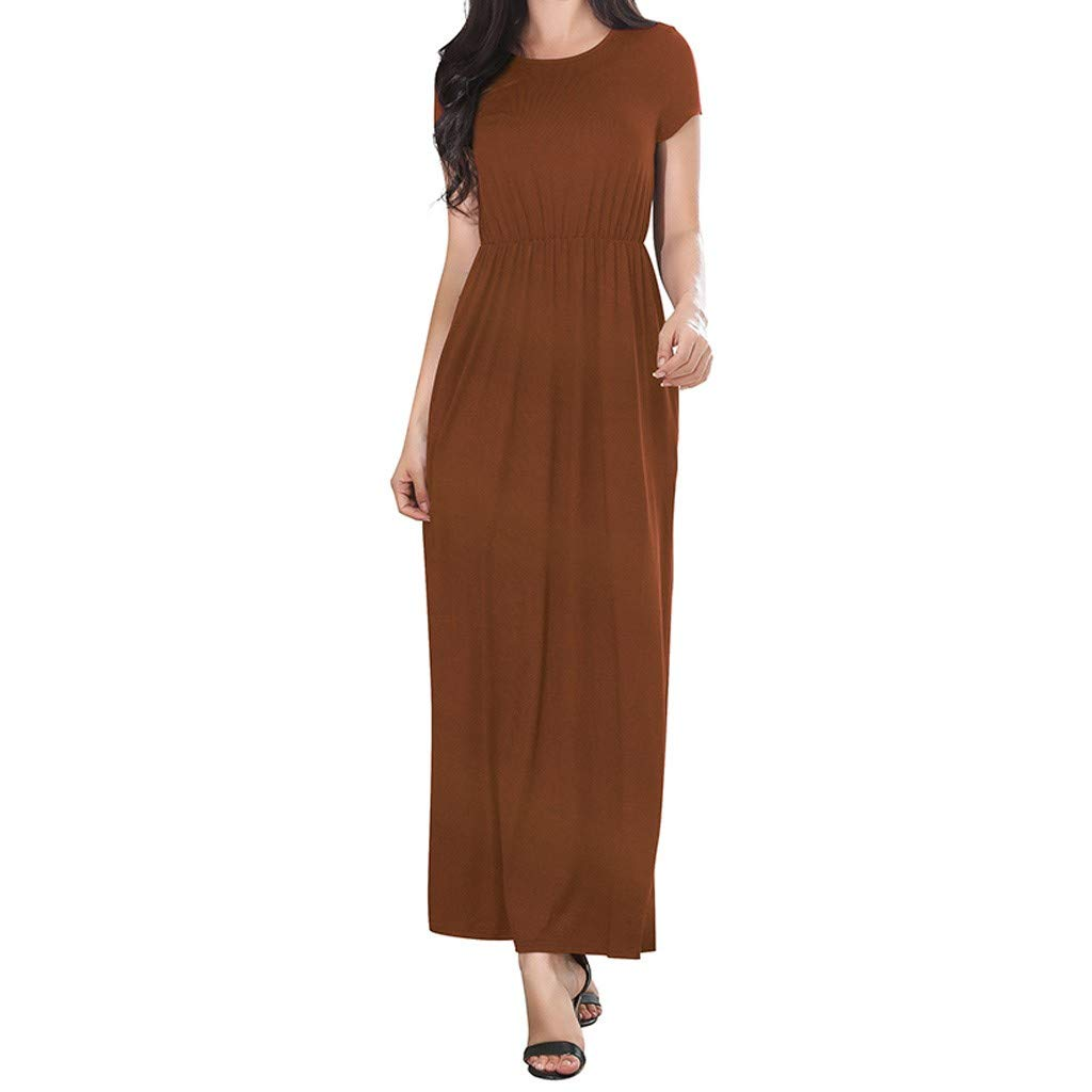 Women Summer Dresses Bohemian Casual Slim Fit Solid Color Beach Maxi Long Dress with Pockets (S, Brown)