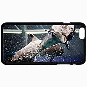 Customized Cellphone Case Back Cover For iPhone 6, Protective Hardshell Case Personalized Dolphins Drops Spray Water Body Tail Black