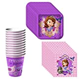 Disney Junior Sofia the First Party Supplies Pack Including Plates, Cups and Napkins - 8 Guests