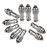 Yibuy 10pcs GX12-4 4Pin Male M12 Screw Panel Connector Aviation Plug 300V 5A