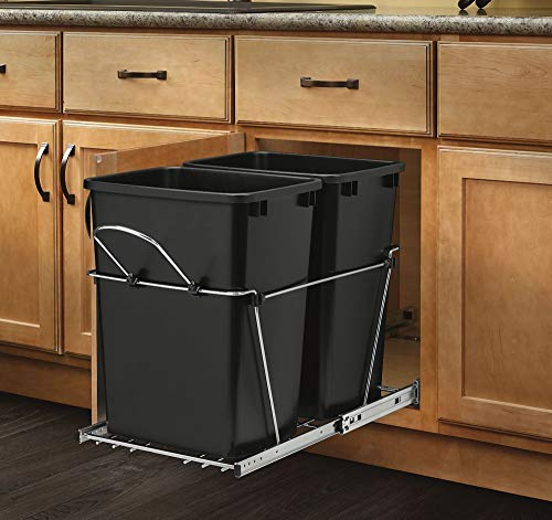 Rev-A-Shelf - RV-18KD-18C S - Double 35 Qt. Pull-Out Black and Chrome Waste Container (Renewed)