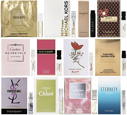 12 Perfume Sample Vial Set of Women's Designer Fragrances