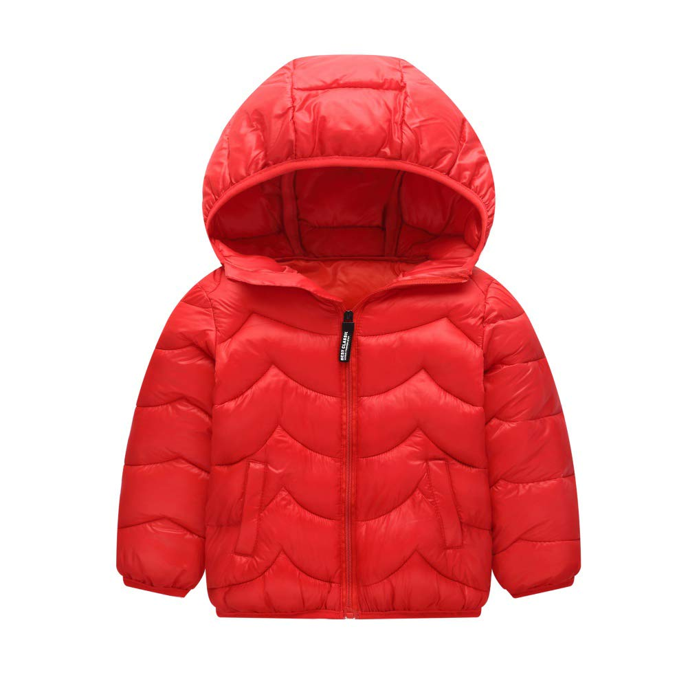 Hongyuangl Baby Boys Girls Winter Coat Kids Cotton Padded Jacket Hoodie Coat Puffer Outerwear Solid Color