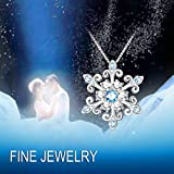 925 Sterling Silver Snowflake Pendant Necklace Blue